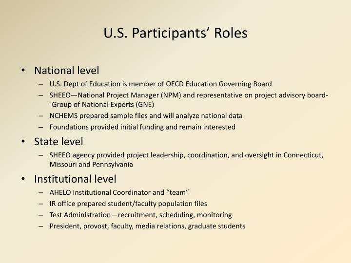 U.S. Participants' Roles