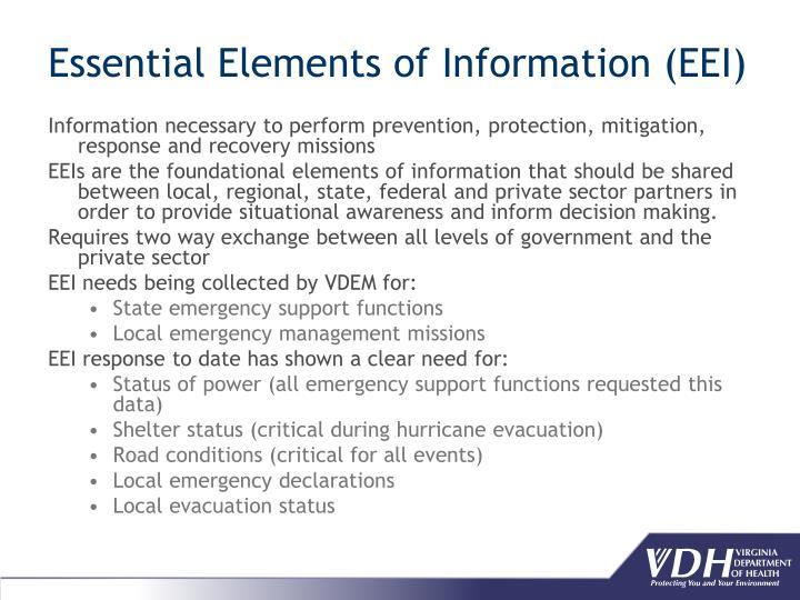 Essential Elements of Information (EEI)