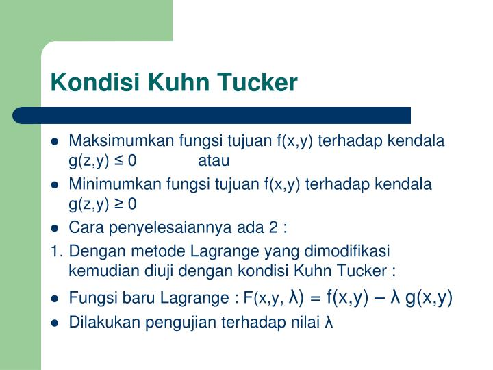 Kondisi Kuhn Tucker