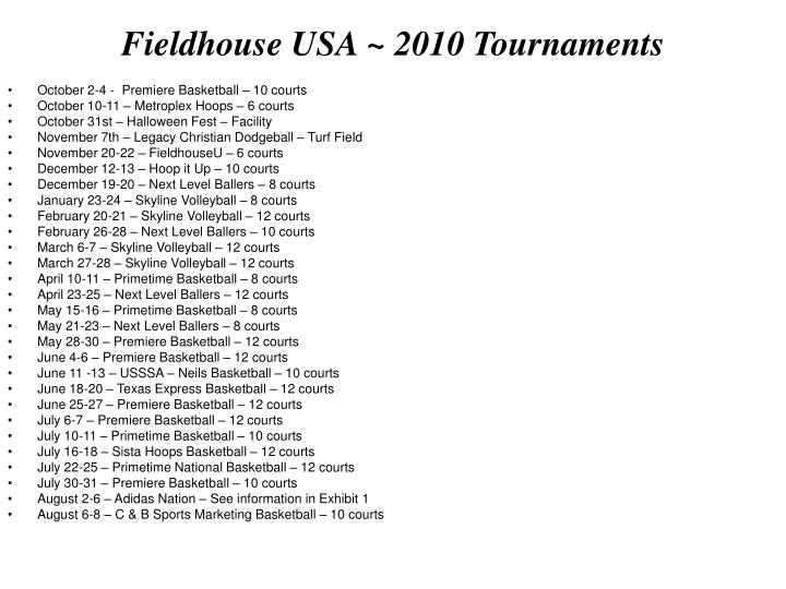 Fieldhouse USA ~ 2010 Tournaments