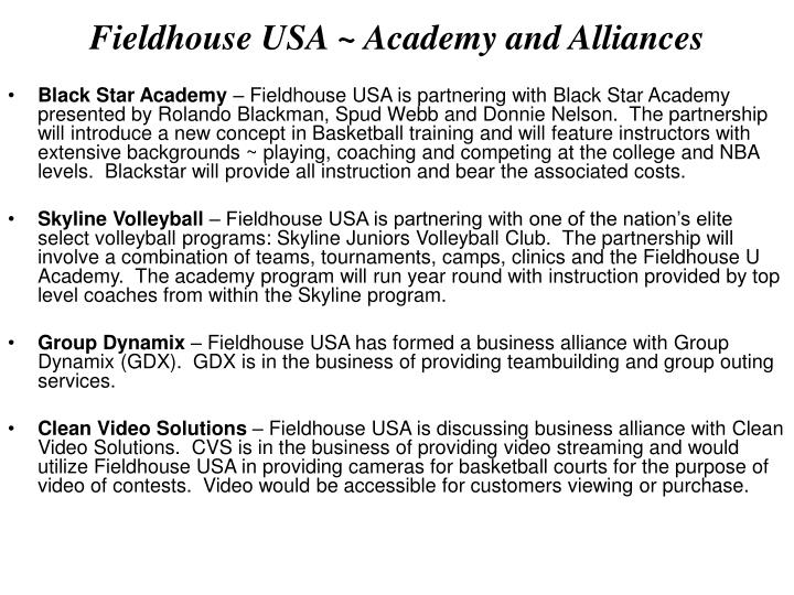 Fieldhouse USA ~ Academy and Alliances