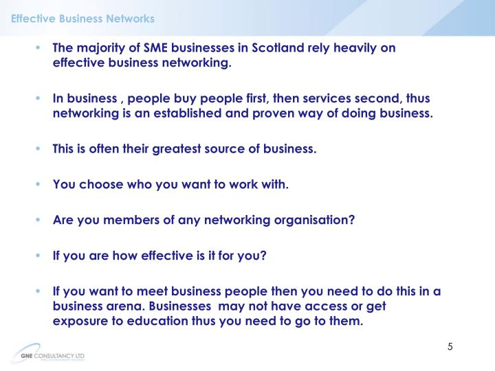 Effective Business Networks