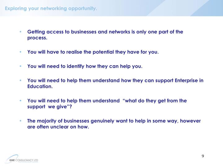 Exploring your networking opportunity.