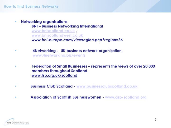 How to find Business Networks
