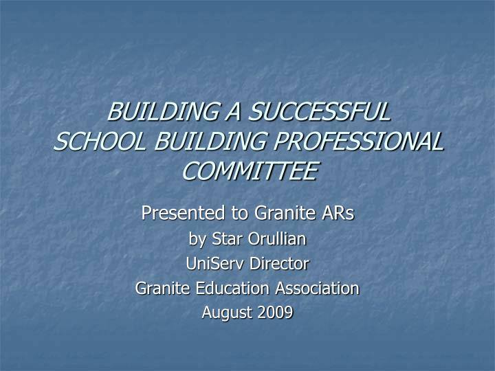 Building a successful school building professional committee