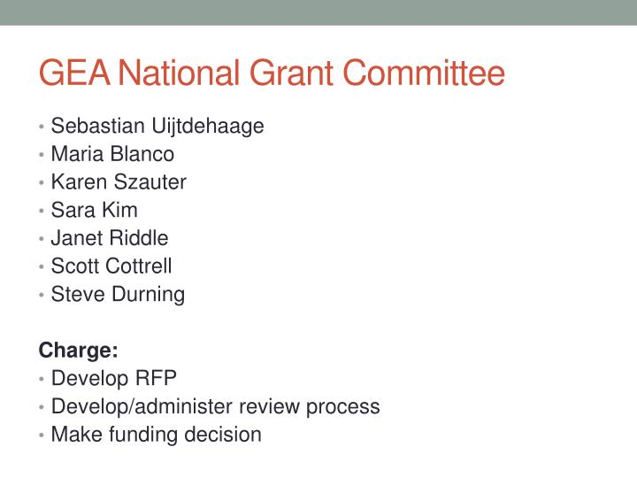 GEA National Grant Committee
