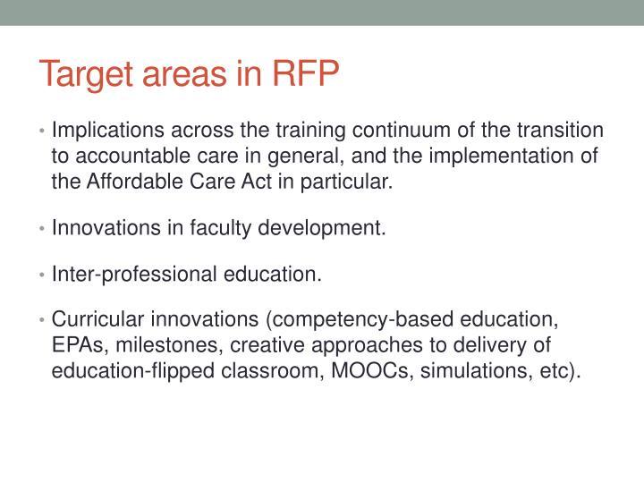 Target areas in RFP