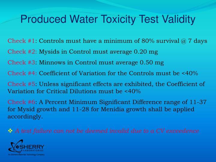 Produced Water Toxicity Test Validity