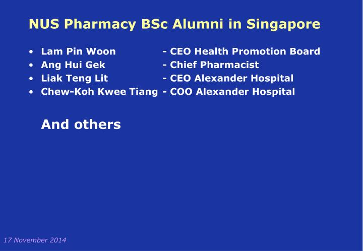 NUS Pharmacy BSc Alumni in Singapore