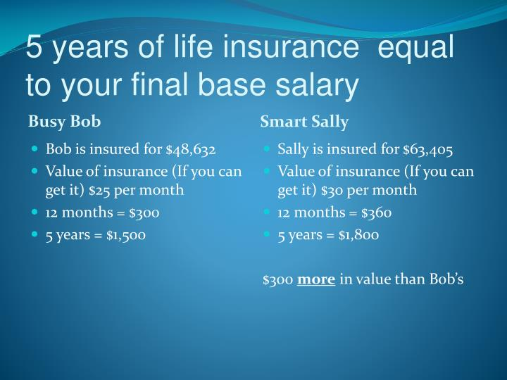 5 years of life insurance  equal to your final base salary