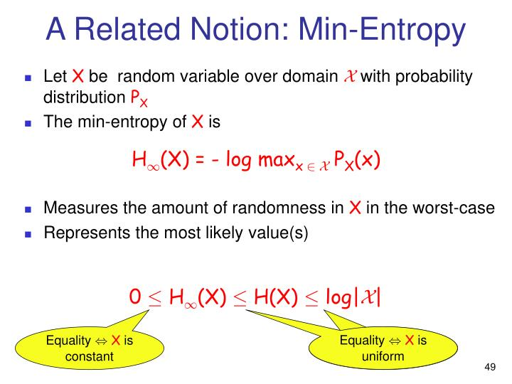 A Related Notion: Min-Entropy