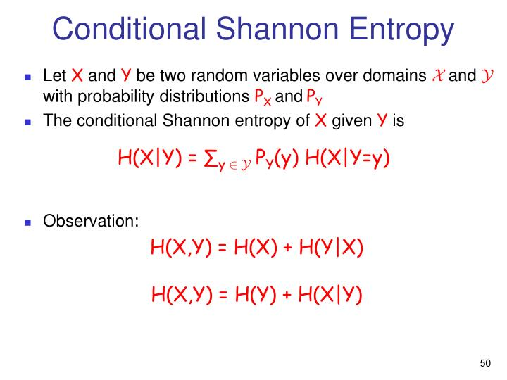 Conditional Shannon Entropy
