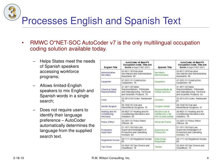 Processes English and Spanish Text