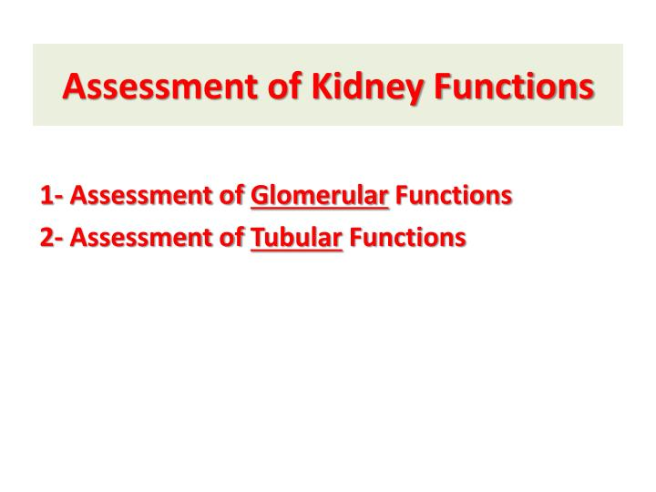Assessment of Kidney Functions