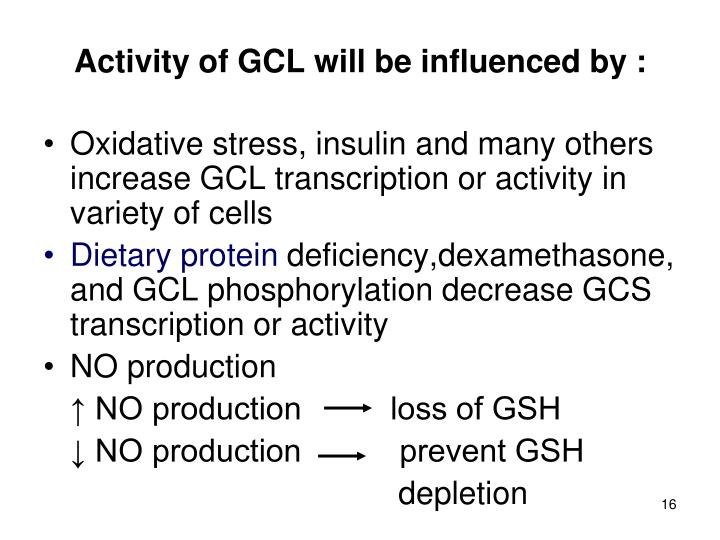 Activity of GCL will be influenced by :