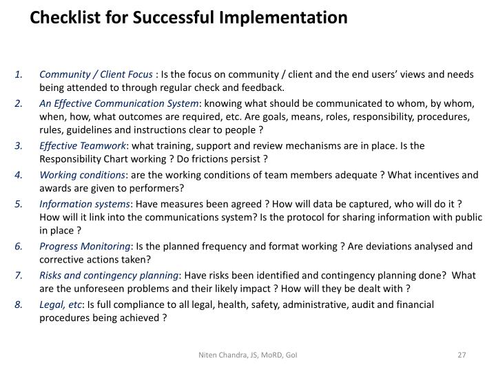 Checklist for Successful Implementation