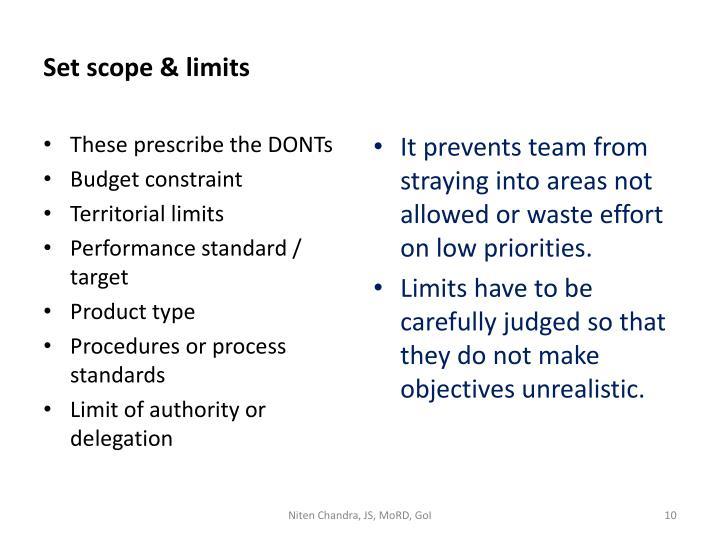 Set scope & limits