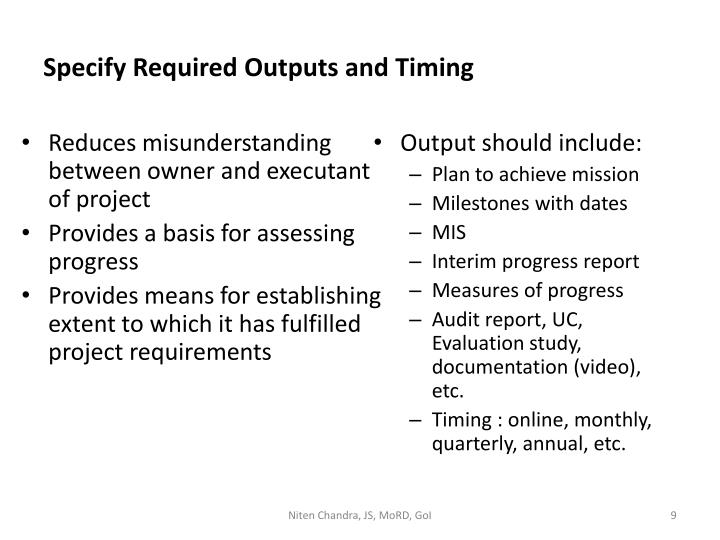 Specify Required Outputs and Timing
