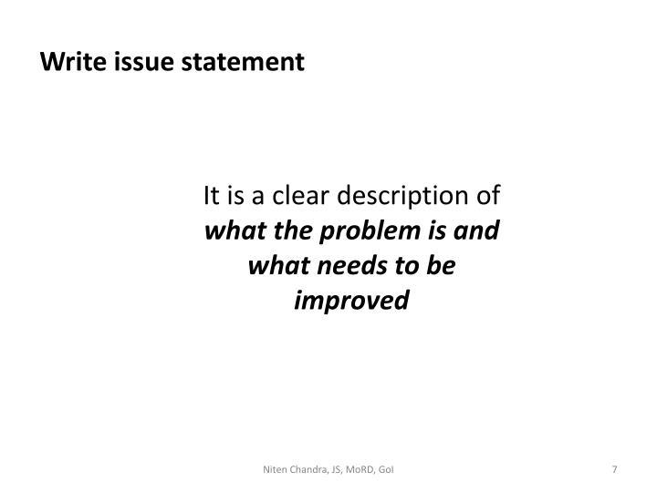 Write issue statement