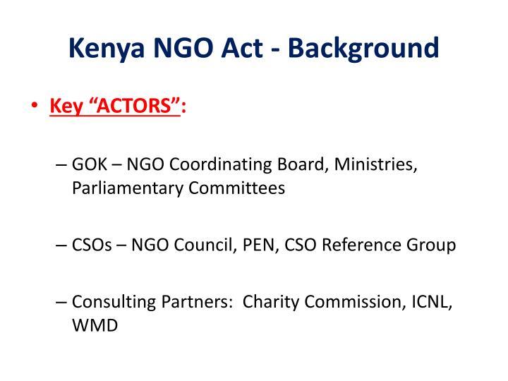 Kenya NGO Act - Background