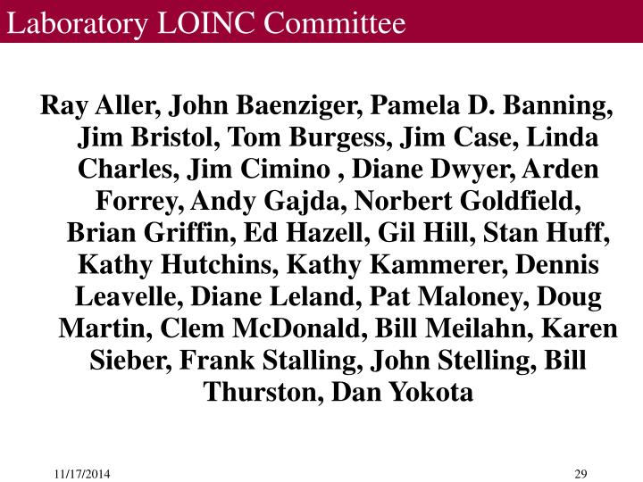 Laboratory LOINC Committee
