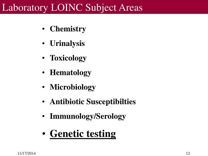 Laboratory LOINC Subject Areas