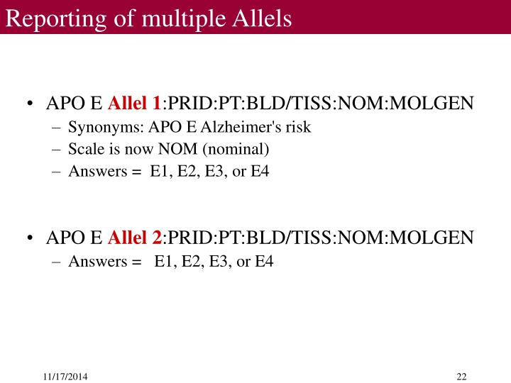 Reporting of multiple Allels