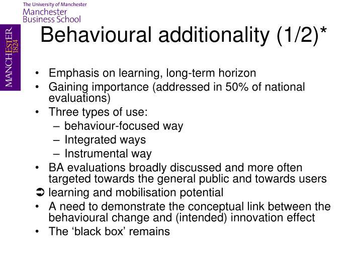 Behavioural additionality (1/2)*