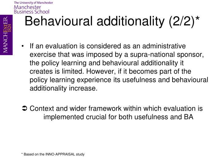 Behavioural additionality (2/2)*