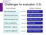 challenges for evaluation 1 2