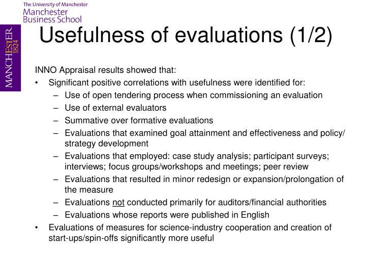 Usefulness of evaluations (1/2)
