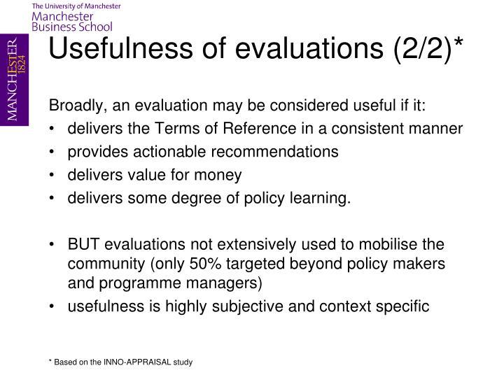 Usefulness of evaluations (2/2)*