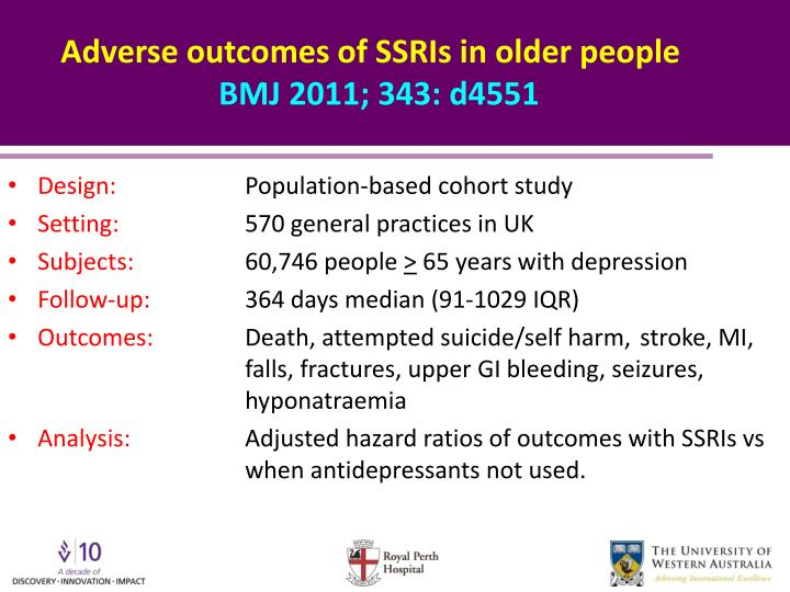 Adverse outcomes of SSRIs in older people