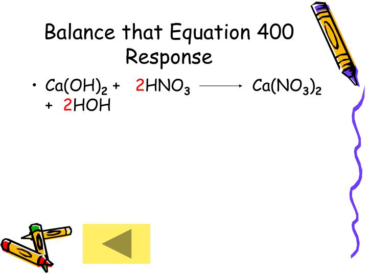 Balance that Equation 400