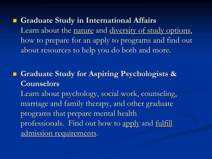 Graduate Study in International Affairs