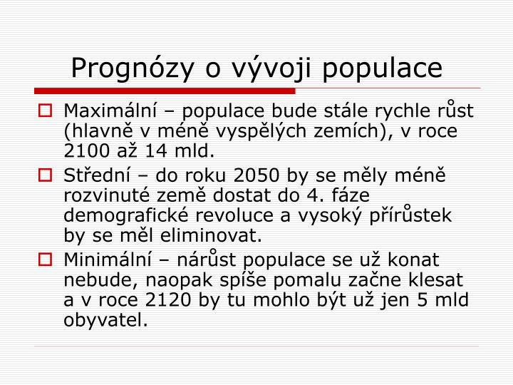 Prognózy o vývoji populace