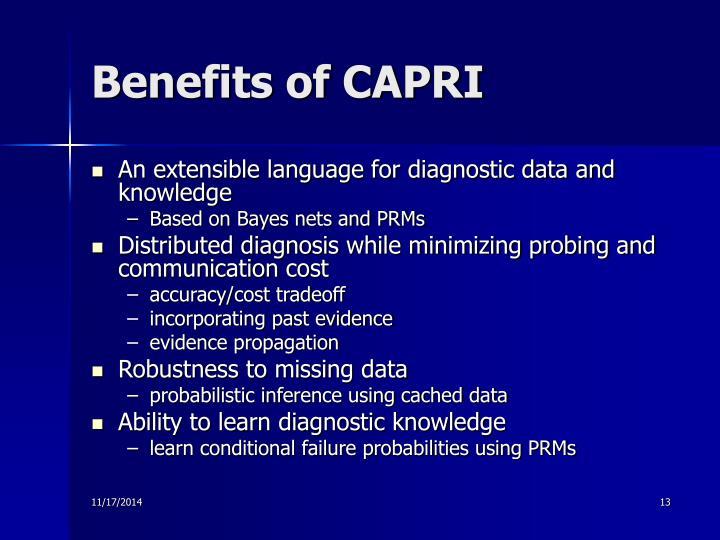 Benefits of CAPRI