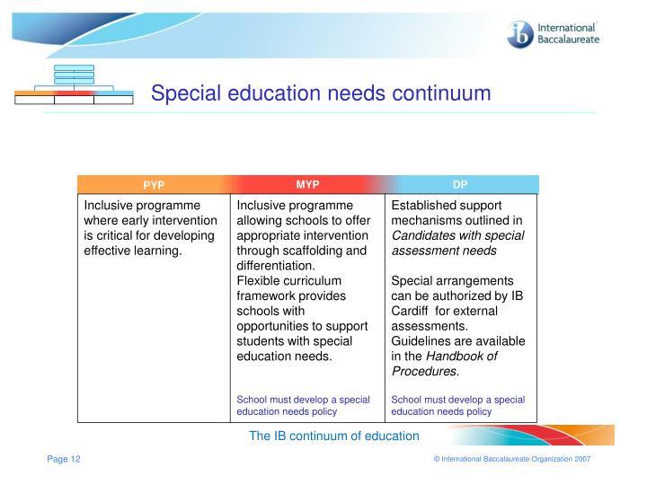 Special education needs continuum