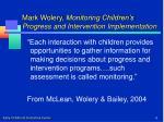 mark wolery monitoring children s progress and intervention implementation