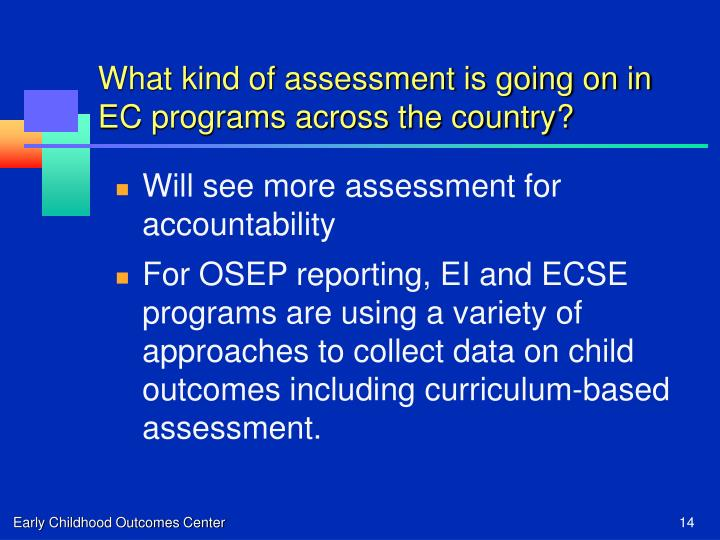 What kind of assessment is going on in EC programs across the country?