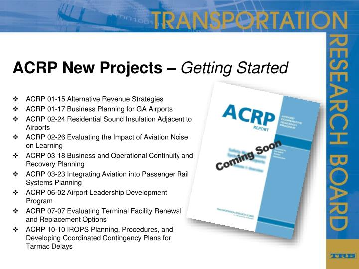 ACRP New Projects –