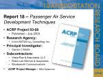 report 18 passenger air service development techniques
