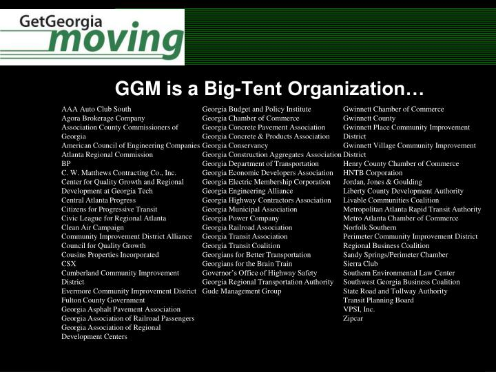 GGM is a Big-Tent Organization…