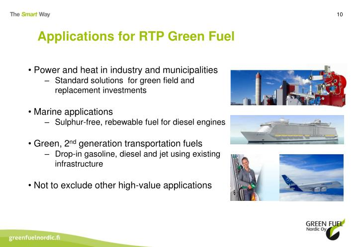Applications for RTP Green Fuel