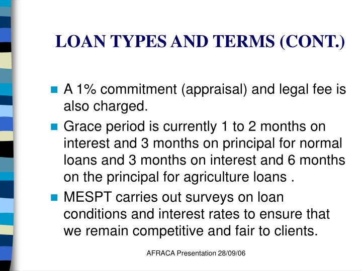LOAN TYPES AND TERMS (CONT.)