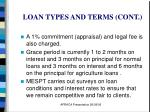 loan types and terms cont