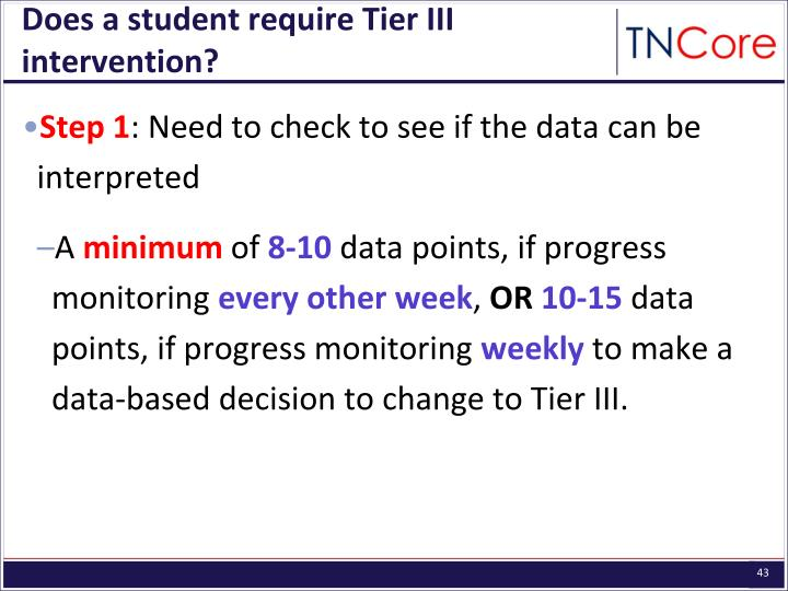 Does a student require Tier III intervention?