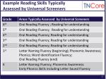 example reading skills typically assessed by universal screeners