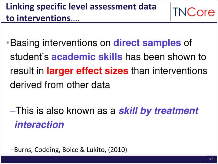 Linking specific level assessment data to interventions