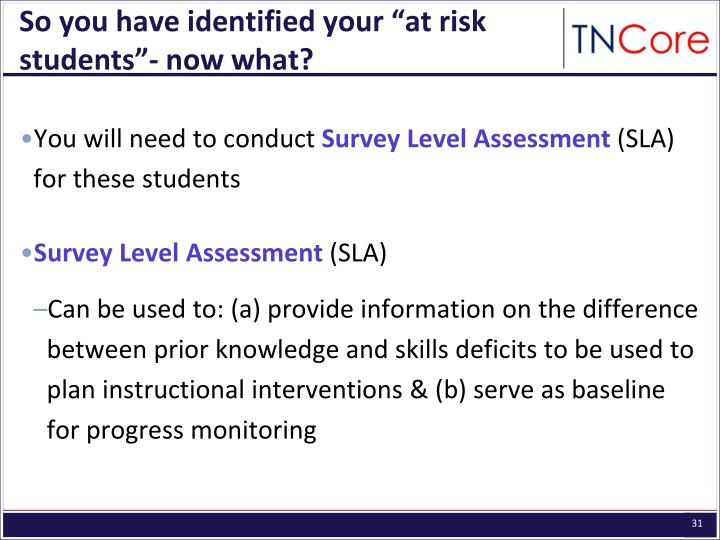 "So you have identified your ""at risk students""- now what?"